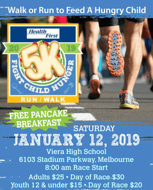 Health First Fight Child Hunger 5K Run/Walk on January 12this Committed to Ending Child Hunger in Brevard